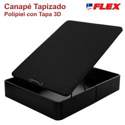 Canapé Abatible Tapizado Polipiel Flex Tapa 3D color negro